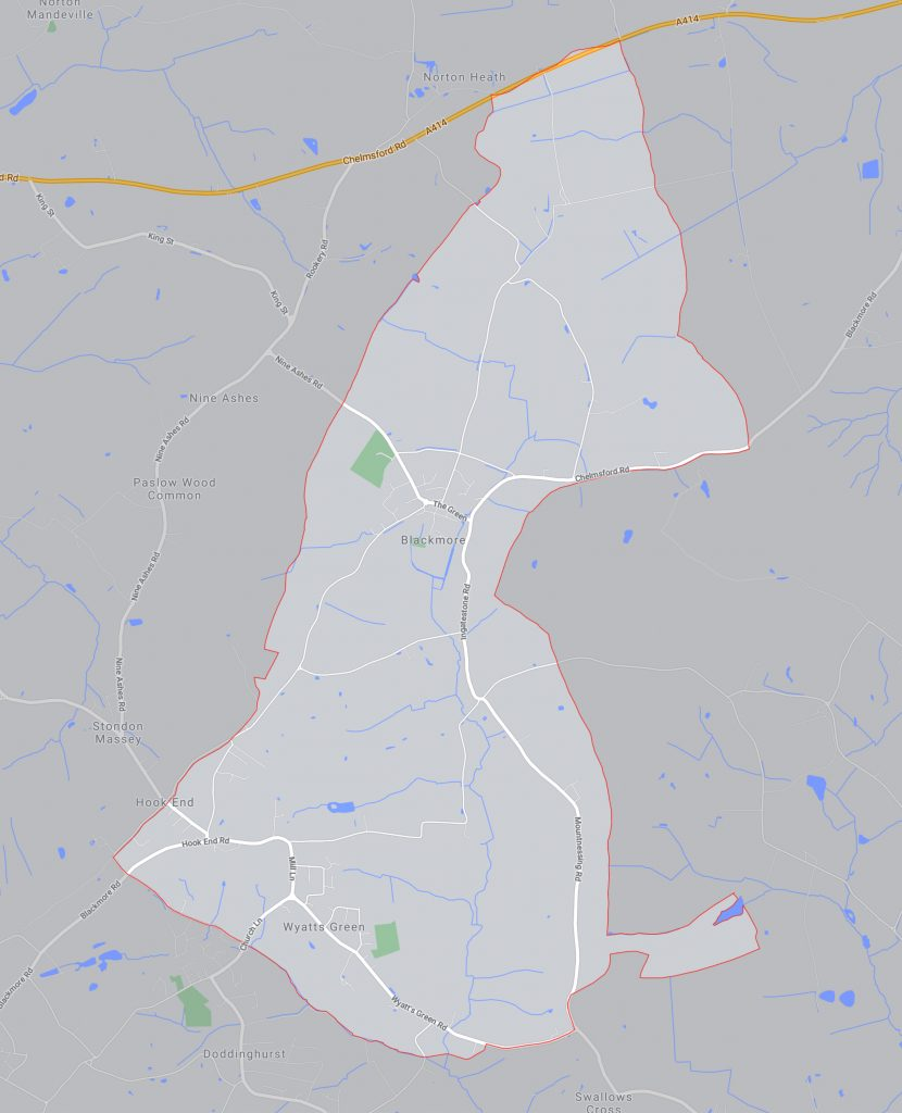 Map of the parish showing the main roads and waterways