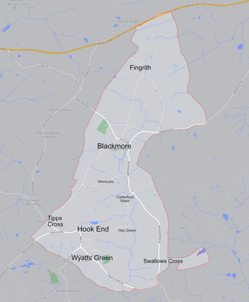 An outline map of the parish displaying the names of the main settlements.